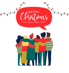 christmas and new year happy friend group hug card vector image