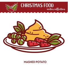 christmas food festive cuisine mashed potato vector image