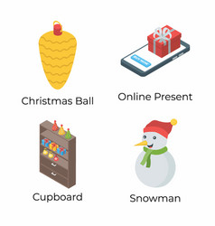 Christmas isometric pack vector