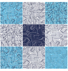 circuit board seamless patterns set backgrounds vector image