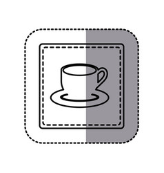 contour emblem cup with plate icon vector image