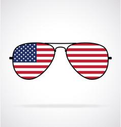 Cool aviator sunglasses with usa flag vector