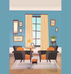 Cozy living room interior design with modern vector