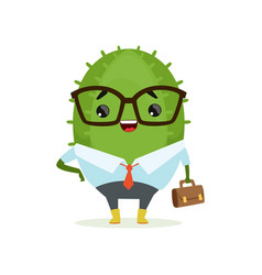 Cute cactus businessman funny plant character in vector