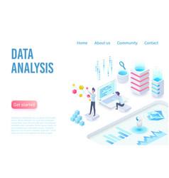 data analysis and visualization isometric landing vector image