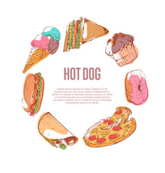 delicious hot dog menu with fast food sketches vector image