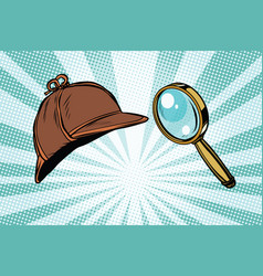 Detective hat and magnifying glass vector
