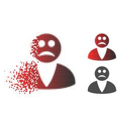 Disintegrating dotted halftone sad user icon vector