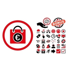 Euro Shopping Bag Flat Icon with Bonus vector image vector image