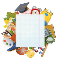 Exercise book sheet with school accessories vector