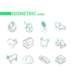 farming and agriculture - modern isometric icons vector image