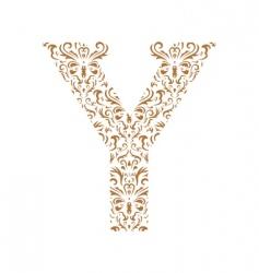 floral letter y ornament font vector image