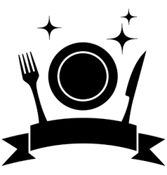 Food icon with plate and kitchen utensil vector