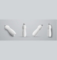 four mockup plastic white bottle from different vector image