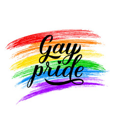 Gay pride calligraphy hand lettering rainbow vector