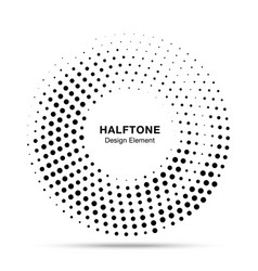 Halftone circle dotted frame round border vector