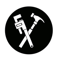 Hammer and adjustable wrench tools repair vector