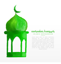 hand painted green mosque design vector image