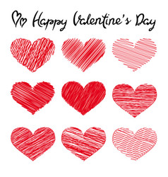 happy valentines day lettering and doodle hearts vector image