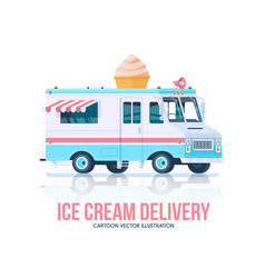 Ice cream truck ice cream vagon delivery vector