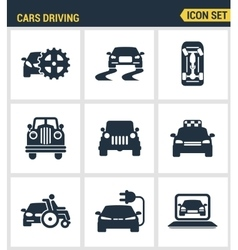 icons set premium quality cars driving vector image