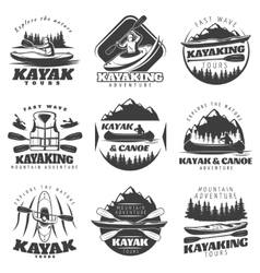 Kayaking tour labels set vector