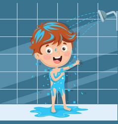 Kid bathing vector