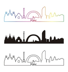 Kiev skyline linear style with rainbow vector