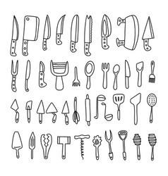 knives spoons forks set vector image