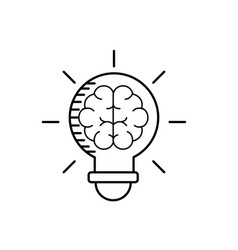 Line bulb with brain inside to creative design vector