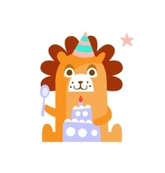 Lion With Party Attributes Girly Stylized Funky vector image