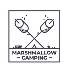 Marshmallows happy camping emblem or icon design vector