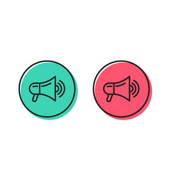 Megaphone line icon advertisement device sign vector