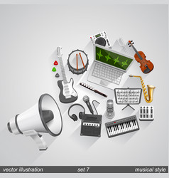 megaphone musical style set 7 vector image