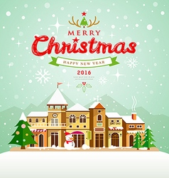 Merry Christmas lettering with houses snow vector image vector image