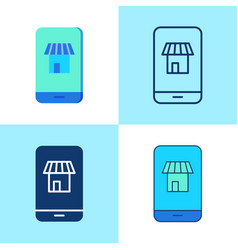 mobile shopping icon set in flat and line style vector image
