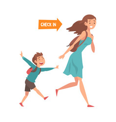 mother and her son running with their bags to vector image