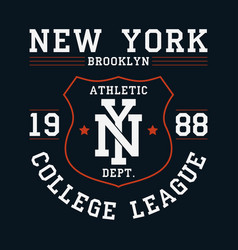 new york brooklyn graphic for t-shirt with shield vector image