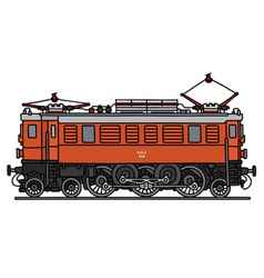 Old orange electric locomotive vector