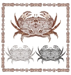 Ornamental decorative crab in black and brown vector image