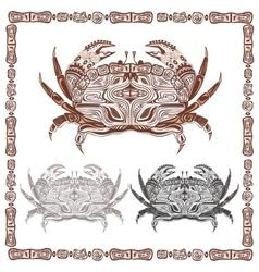 Ornamental decorative crab in black and brown vector image