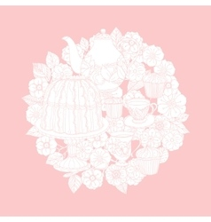 Pastel floral tea time vector