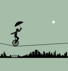 person riding a unicycle and balancing it with an vector image