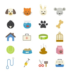 Pet flat icons color vector