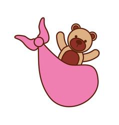 Pink bear toy in blanket baby shower celebration vector