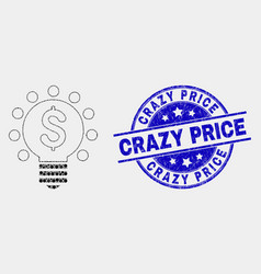 pixelated dollar light bulb icon and vector image