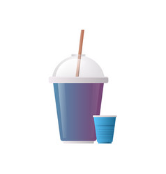 plastic disposable cup for beverage with sphere vector image