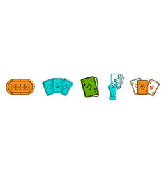 play card icon set color outline style vector image