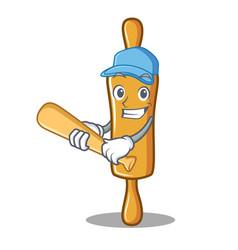 playing baseball rolling pin character cartoon vector image