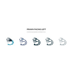 Prawn facing left icon in different style two vector